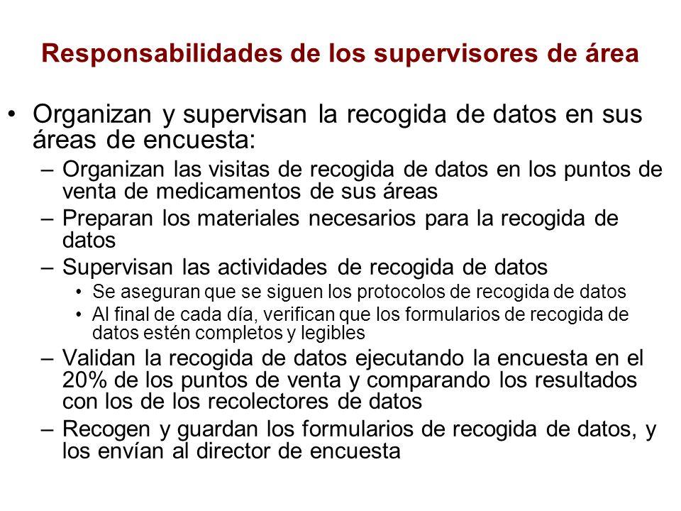 Responsabilidades de los supervisores de área Organizan y supervisan la recogida de datos en sus áreas de encuesta: –Organizan las visitas de recogida