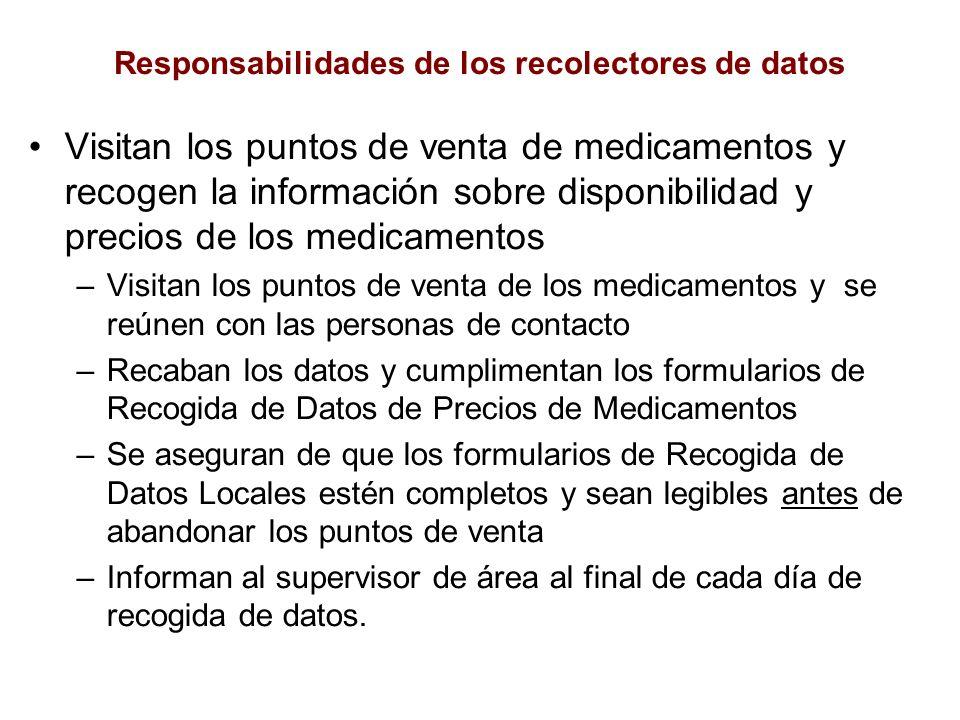 Responsabilidades de los recolectores de datos Visitan los puntos de venta de medicamentos y recogen la información sobre disponibilidad y precios de