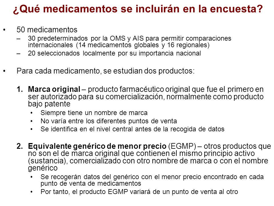 ¿Qué medicamentos se incluirán en la encuesta? 50 medicamentos –30 predeterminados por la OMS y AIS para permitir comparaciones internacionales (14 me