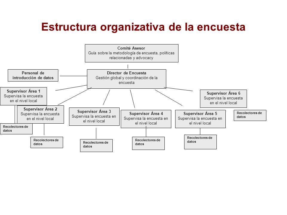 Estructura organizativa de la encuesta Recolectores de datos Supervisor Área 6 Supervisa la encuesta en el nivel local Supervisor Área 1 Supervisa la