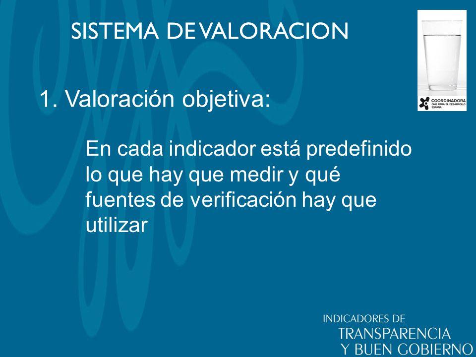 1. Valoración objetiva: SISTEMA DE VALORACION En cada indicador está predefinido lo que hay que medir y qué fuentes de verificación hay que utilizar