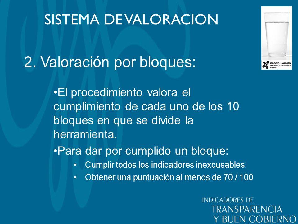 2. Valoración por bloques: SISTEMA DE VALORACION El procedimiento valora el cumplimiento de cada uno de los 10 bloques en que se divide la herramienta