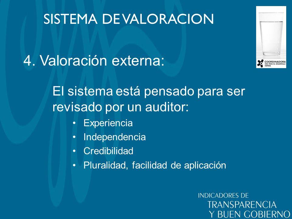4. Valoración externa: SISTEMA DE VALORACION El sistema está pensado para ser revisado por un auditor: Experiencia Independencia Credibilidad Pluralid