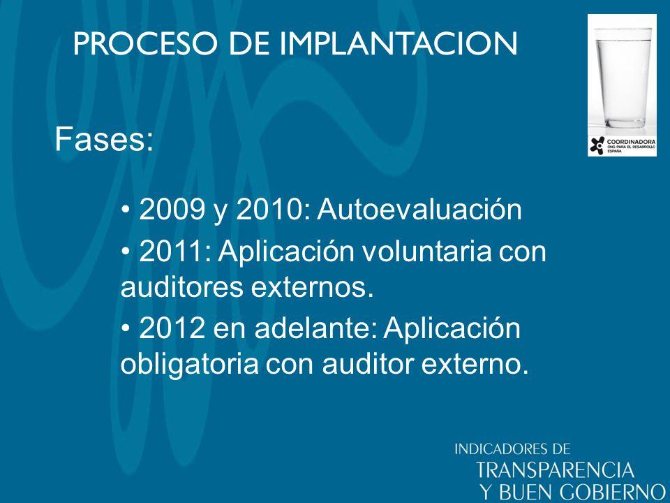 Fases: PROCESO DE IMPLANTACION 2009 y 2010: Autoevaluación 2011: Aplicación voluntaria con auditores externos.