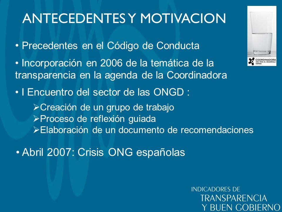 ANTECEDENTES Y MOTIVACION Precedentes en el Código de Conducta Incorporación en 2006 de la temática de la transparencia en la agenda de la Coordinador