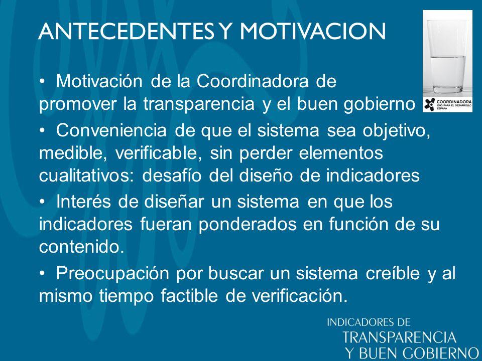 ANTECEDENTES Y MOTIVACION Motivación de la Coordinadora de promover la transparencia y el buen gobierno Conveniencia de que el sistema sea objetivo, m