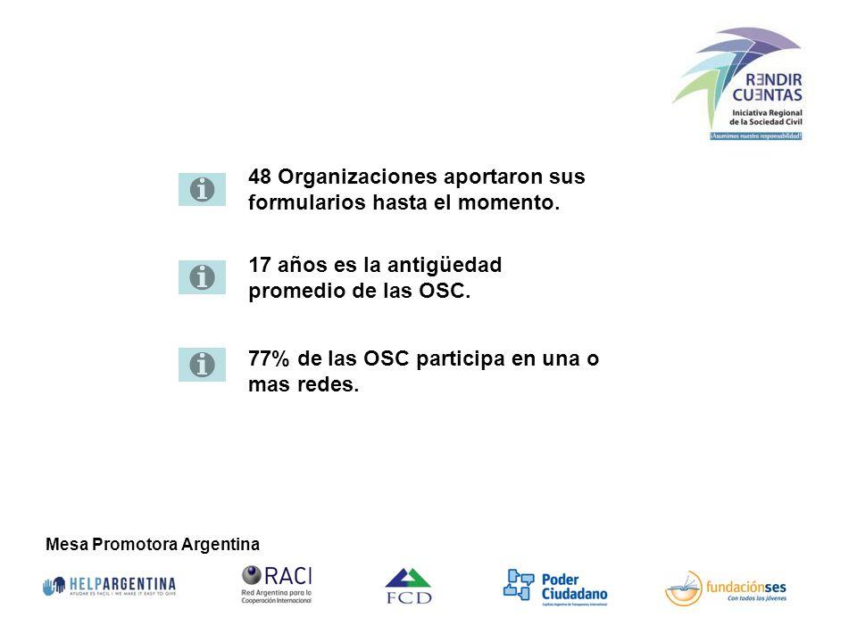Mesa Promotora Argentina 48 Organizaciones aportaron sus formularios hasta el momento. 17 años es la antigüedad promedio de las OSC. 77% de las OSC pa