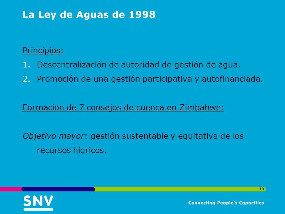 10 La Ley de Aguas de 1998 Principios: 1.Descentralización de autoridad de gestión de agua.