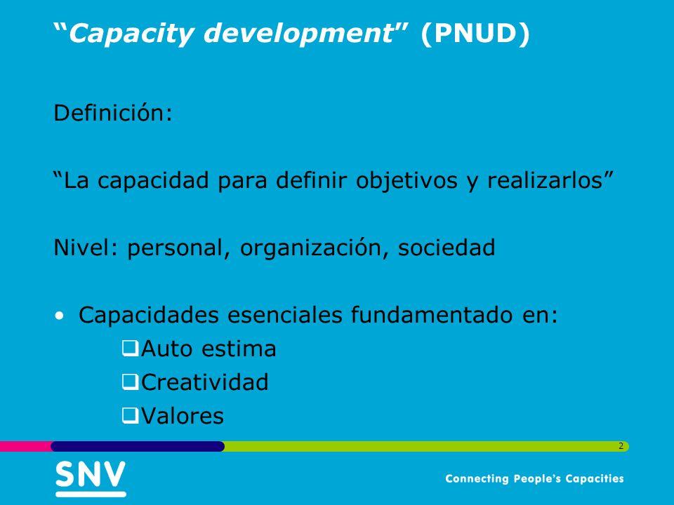 2 Capacity development (PNUD) Definición: La capacidad para definir objetivos y realizarlos Nivel: personal, organización, sociedad Capacidades esenciales fundamentado en: Auto estima Creatividad Valores