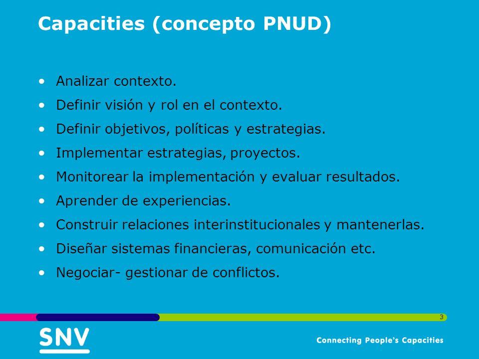 3 Capacities (concepto PNUD) Analizar contexto. Definir visión y rol en el contexto.