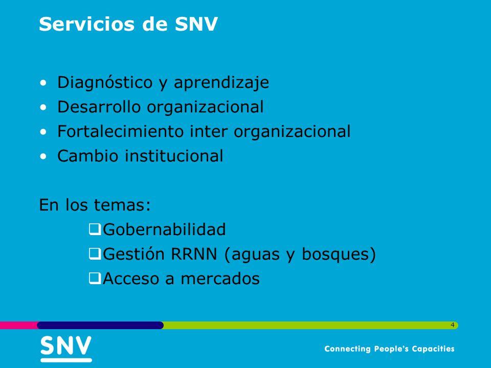 4 Servicios de SNV Diagnóstico y aprendizaje Desarrollo organizacional Fortalecimiento inter organizacional Cambio institucional En los temas: Gobernabilidad Gestión RRNN (aguas y bosques) Acceso a mercados