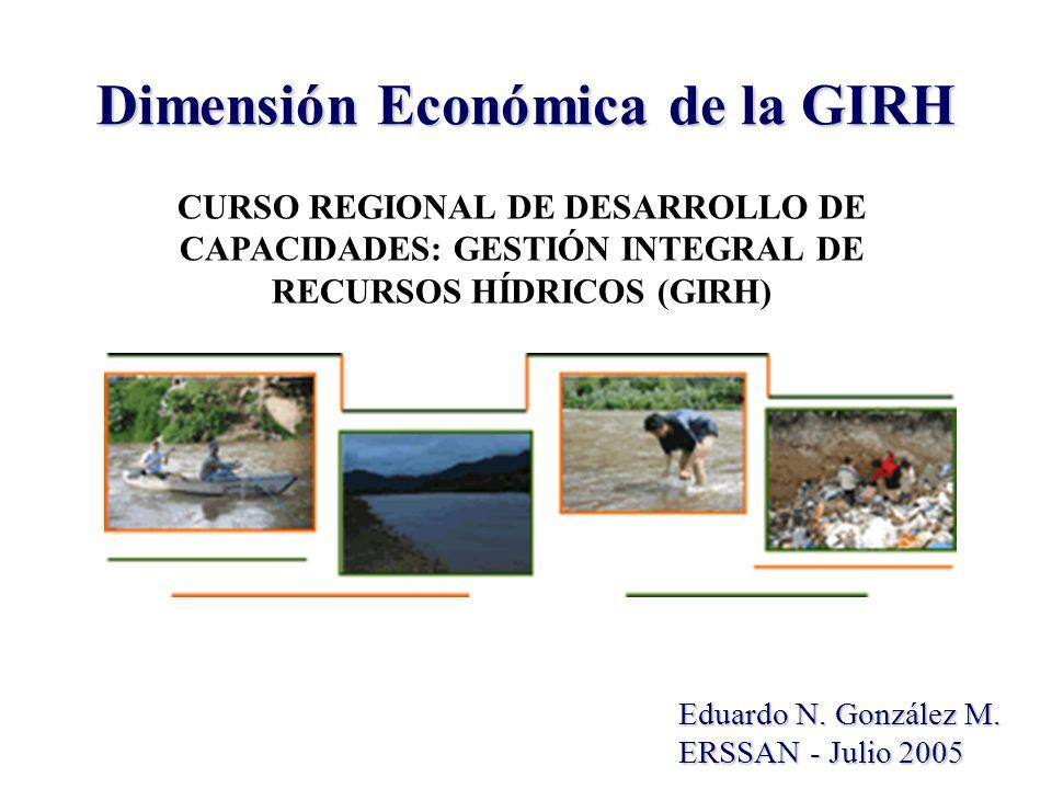 Dimensión Económica de la GIRH Eduardo N. González M. ERSSAN - Julio 2005 CURSO REGIONAL DE DESARROLLO DE CAPACIDADES: GESTIÓN INTEGRAL DE RECURSOS HÍ