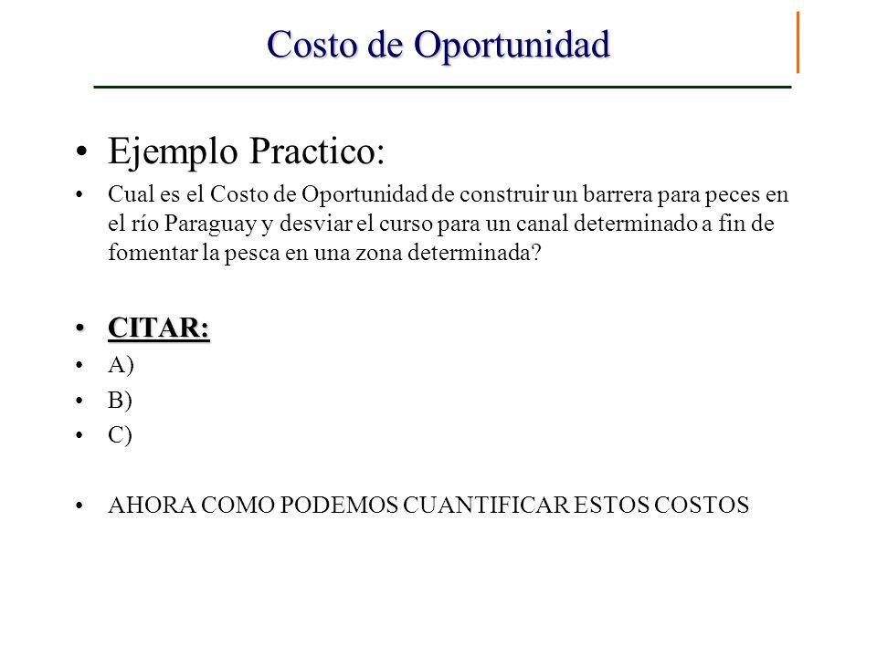 Costo de Oportunidad Ejemplo Practico: Cual es el Costo de Oportunidad de construir un barrera para peces en el río Paraguay y desviar el curso para u