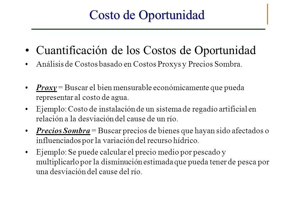 Costo de Oportunidad Cuantificación de los Costos de Oportunidad Análisis de Costos basado en Costos Proxys y Precios Sombra. Proxy = Buscar el bien m