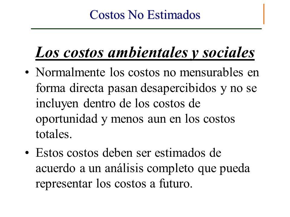 Costos No Estimados Los costos ambientales y sociales Normalmente los costos no mensurables en forma directa pasan desapercibidos y no se incluyen den