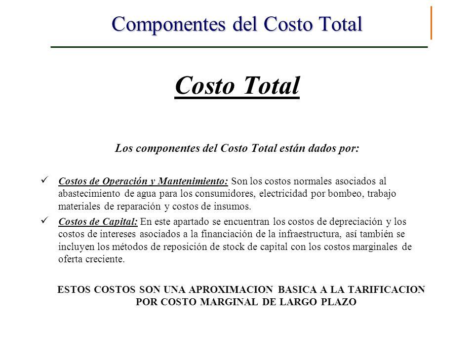 Componentes del Costo Total Costo Total Los componentes del Costo Total están dados por: Costos de Operación y Mantenimiento: Son los costos normales