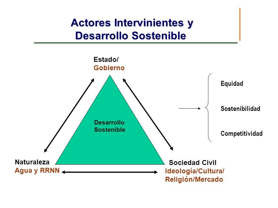Actores Intervinientes y Desarrollo Sostenible Estado/ Gobierno Naturaleza Agua y RRNN Sociedad Civil Ideología/Cultura/ Religión/Mercado Desarrollo S