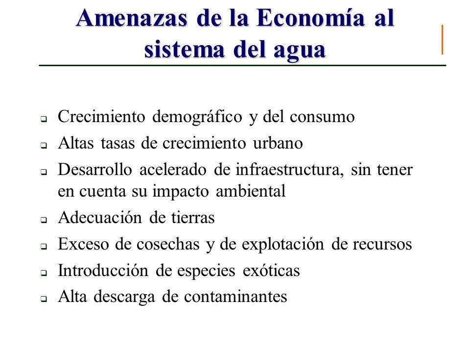 Amenazas de la Economía al sistema del agua Crecimiento demográfico y del consumo Altas tasas de crecimiento urbano Desarrollo acelerado de infraestru