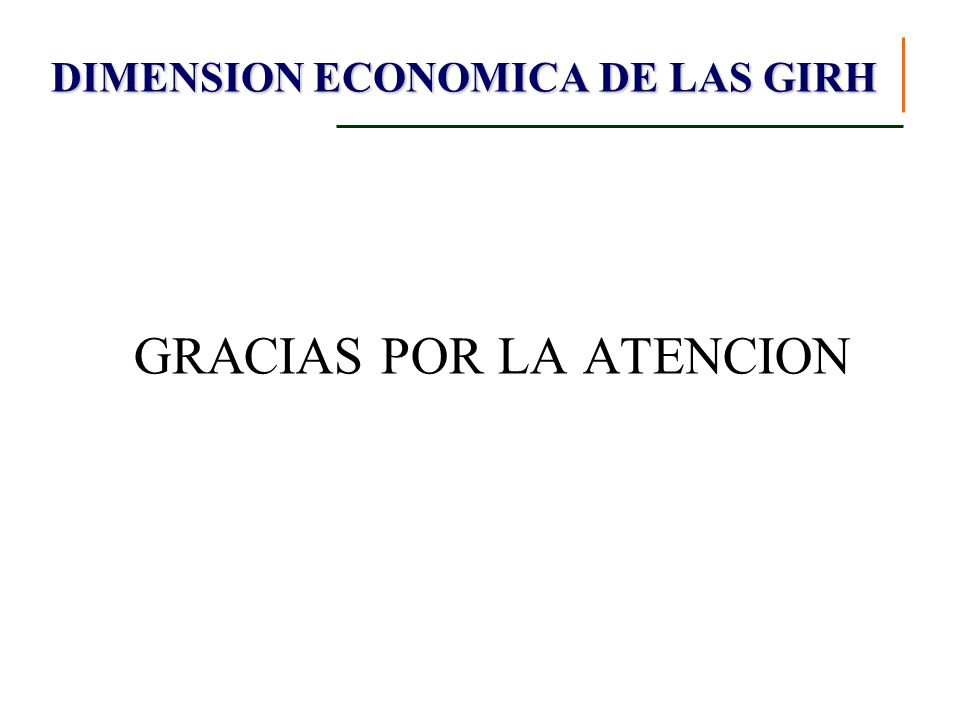 GRACIAS POR LA ATENCION DIMENSION ECONOMICA DE LAS GIRH