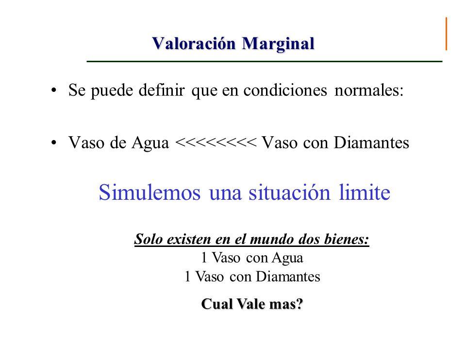 Valoración Marginal Se puede definir que en condiciones normales: Vaso de Agua <<<<<<<< Vaso con Diamantes Simulemos una situación limite Solo existen