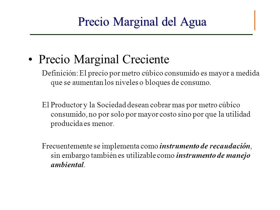 Precio Marginal del Agua Precio Marginal Creciente Definición: El precio por metro cúbico consumido es mayor a medida que se aumentan los niveles o bl