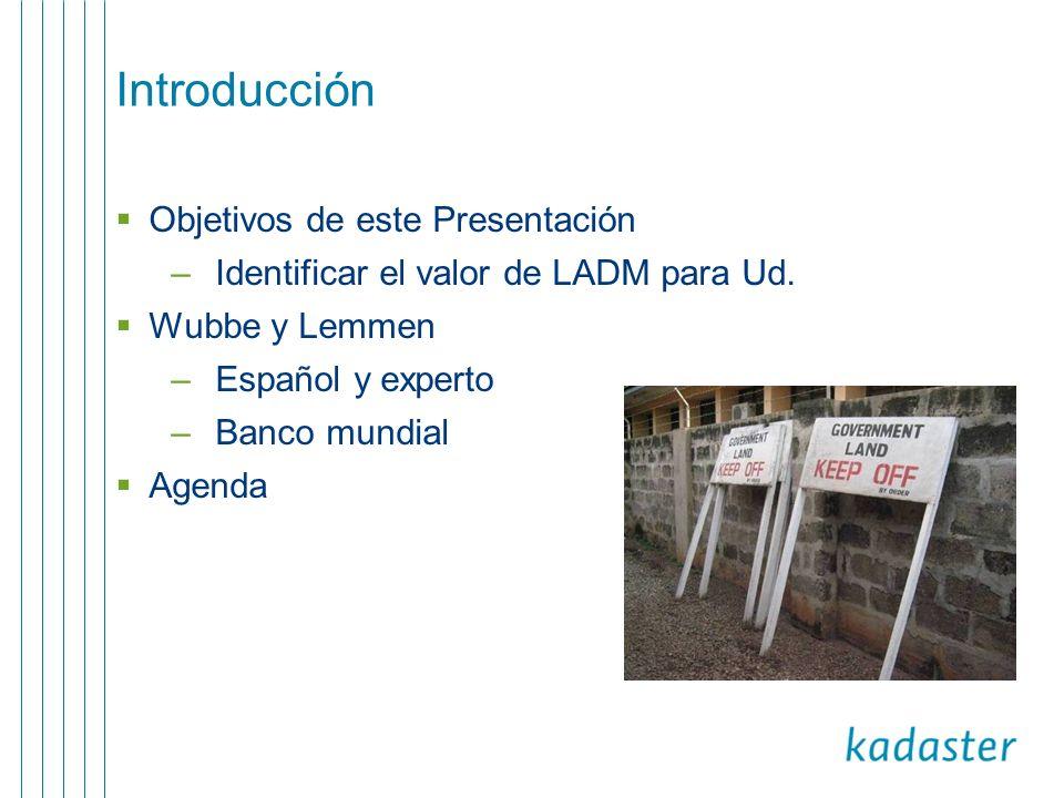 Agenda presentación LADM Un estándar mundial El contexto de ISO ¿Que es LADM.