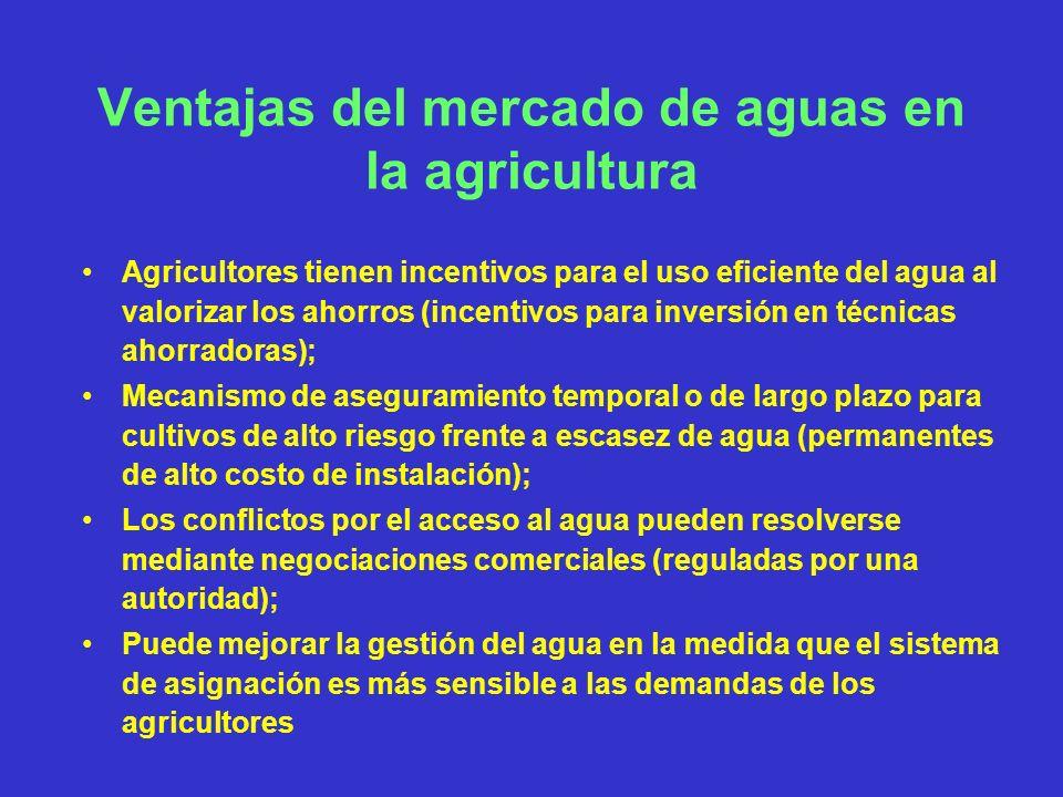 Ventajas del mercado de aguas en la agricultura Agricultores tienen incentivos para el uso eficiente del agua al valorizar los ahorros (incentivos par