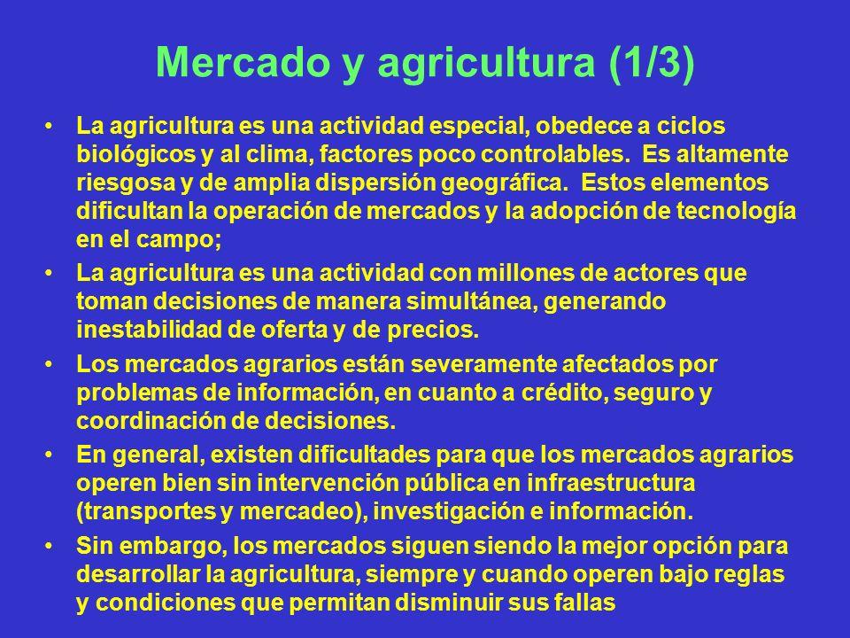 Mercado y agricultura (1/3) La agricultura es una actividad especial, obedece a ciclos biológicos y al clima, factores poco controlables. Es altamente