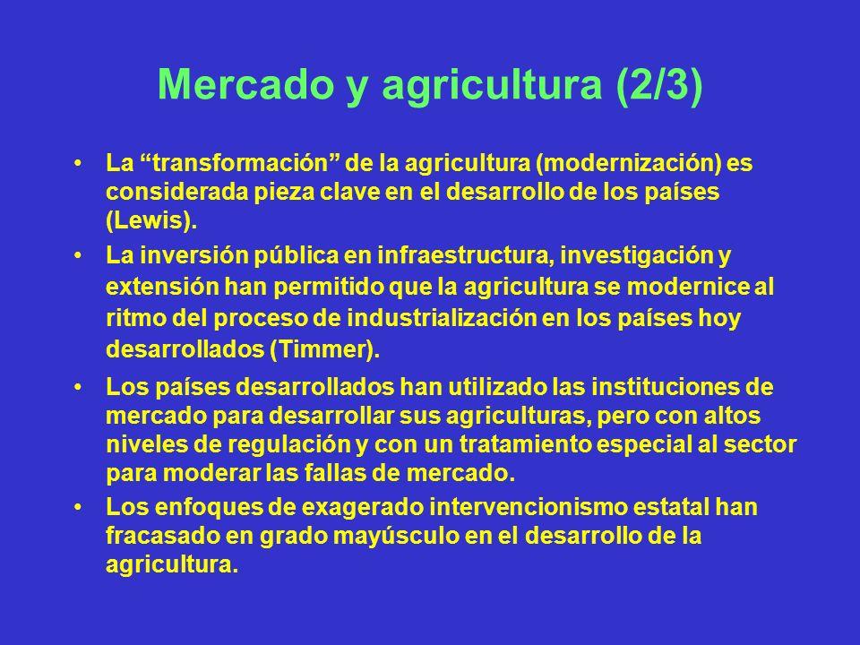 Mercado y agricultura (3/3) Una buena definición de derechos de propiedad sobre recursos agrarios (tierra, agua, bosques) es importante para el desarrollo agrario al promover la inversión y el uso sostenible de los recursos; Esto no implica necesariamente la privatización, en muchos casos los sistemas de propiedad condicionada o mixta son más eficientes y equitativos.