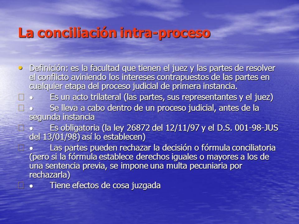 La conciliación intra-proceso Definición: es la facultad que tienen el juez y las partes de resolver el conflicto aviniendo los intereses contrapuesto