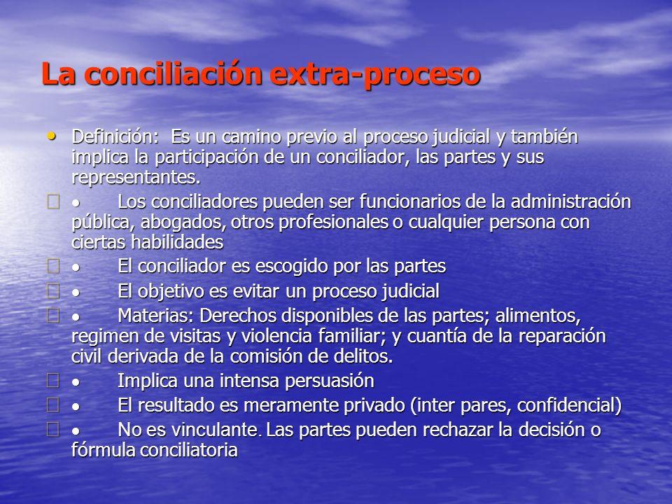 La conciliación extra-proceso Definición: Es un camino previo al proceso judicial y también implica la participación de un conciliador, las partes y s