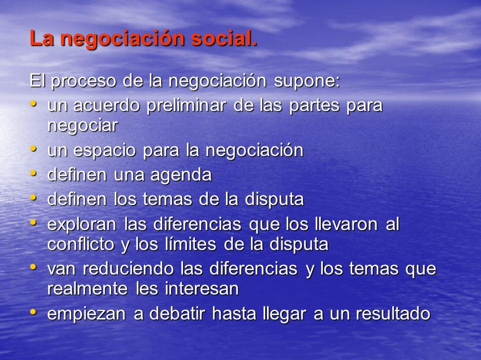 La negociación social. El proceso de la negociación supone: un acuerdo preliminar de las partes para negociar un acuerdo preliminar de las partes para