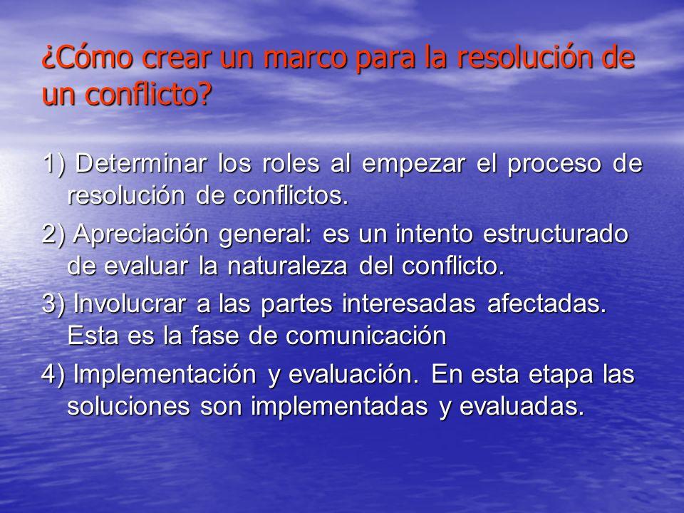 ¿Cómo crear un marco para la resolución de un conflicto? 1) Determinar los roles al empezar el proceso de resolución de conflictos. 2) Apreciación gen