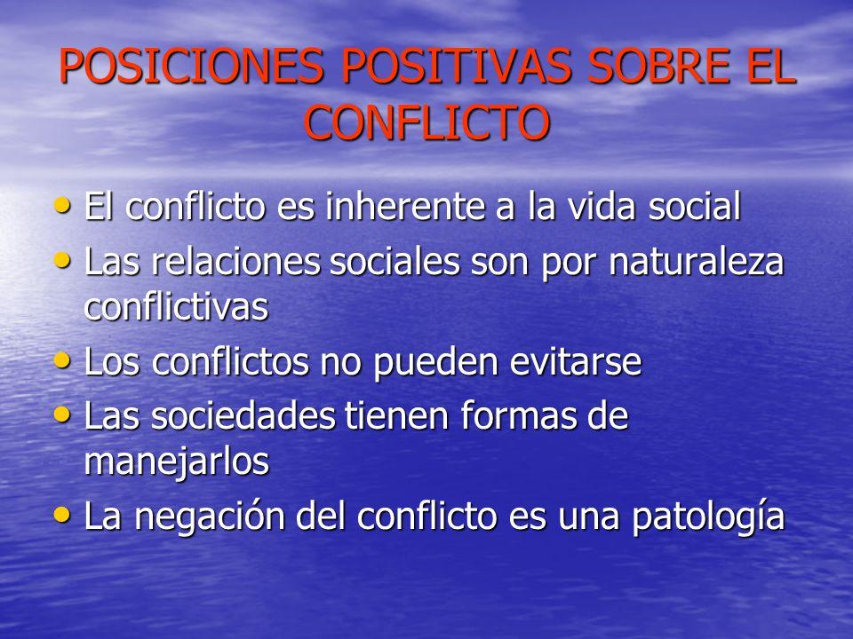 POSICIONES POSITIVAS SOBRE EL CONFLICTO El conflicto es inherente a la vida social El conflicto es inherente a la vida social Las relaciones sociales
