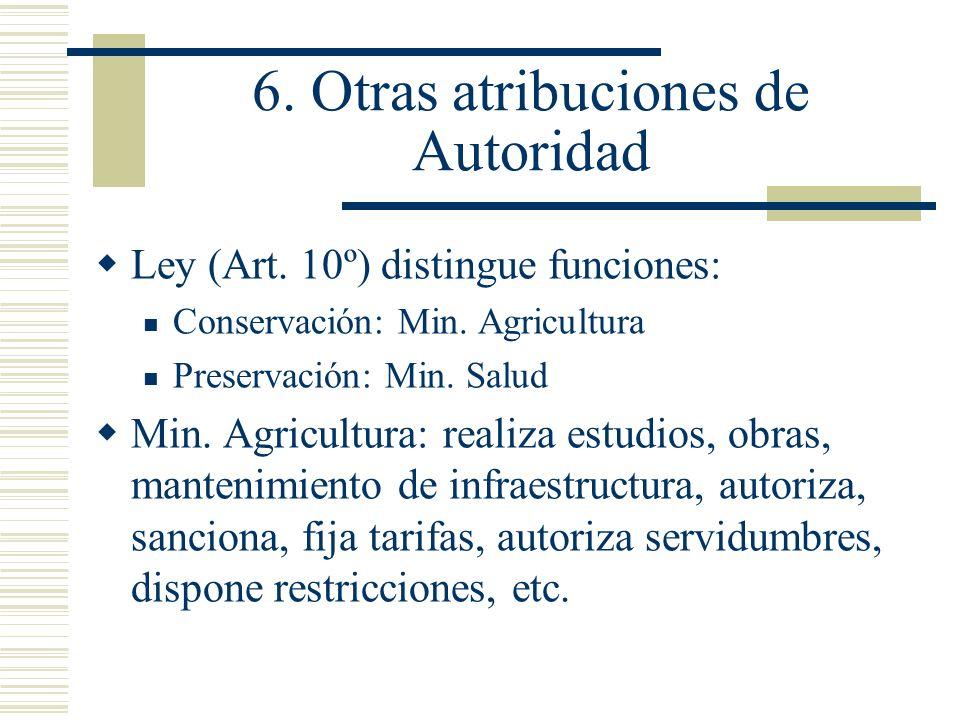 6. Otras atribuciones de Autoridad Ley (Art. 10º) distingue funciones: Conservación: Min. Agricultura Preservación: Min. Salud Min. Agricultura: reali