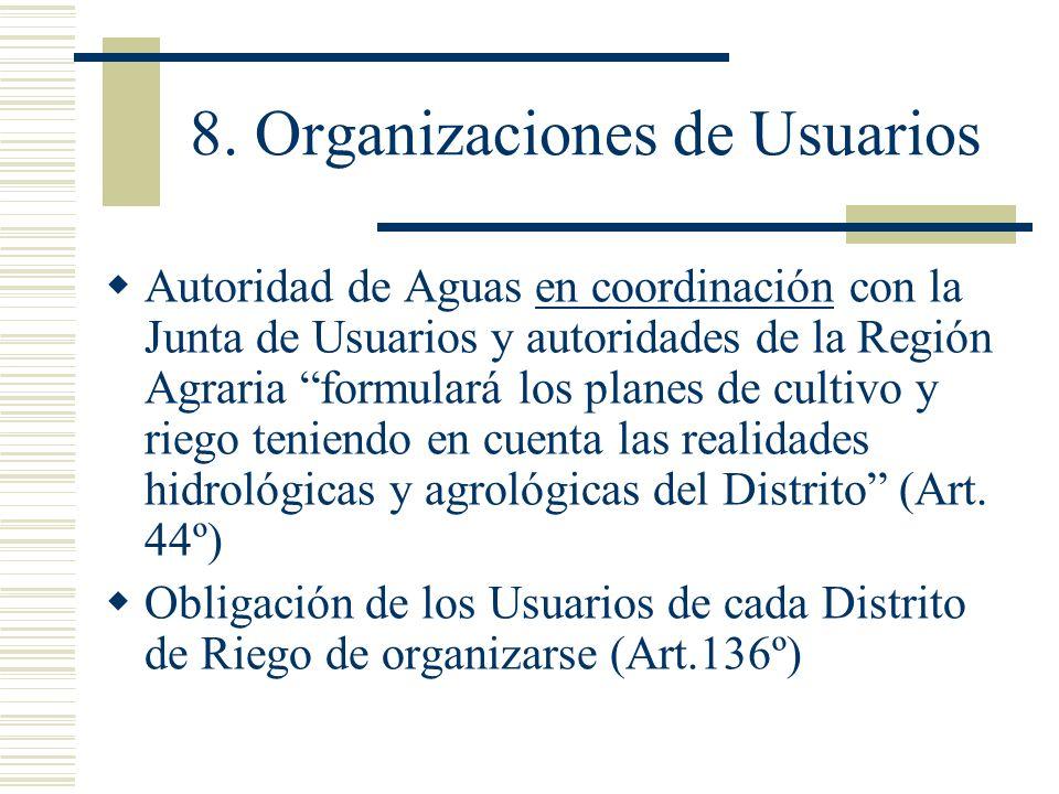8. Organizaciones de Usuarios Autoridad de Aguas en coordinación con la Junta de Usuarios y autoridades de la Región Agraria formulará los planes de c