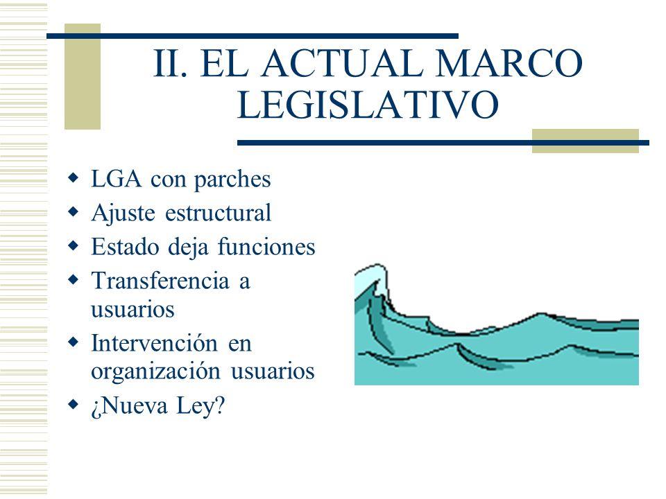 II. EL ACTUAL MARCO LEGISLATIVO LGA con parches Ajuste estructural Estado deja funciones Transferencia a usuarios Intervención en organización usuario