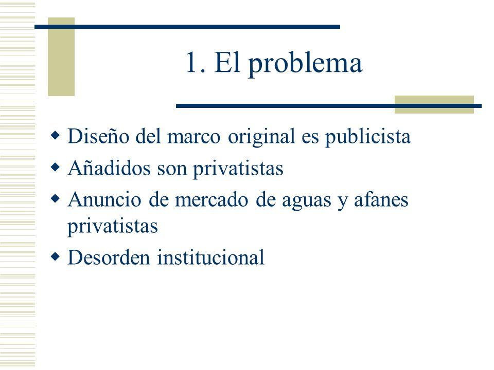 1. El problema Diseño del marco original es publicista Añadidos son privatistas Anuncio de mercado de aguas y afanes privatistas Desorden instituciona