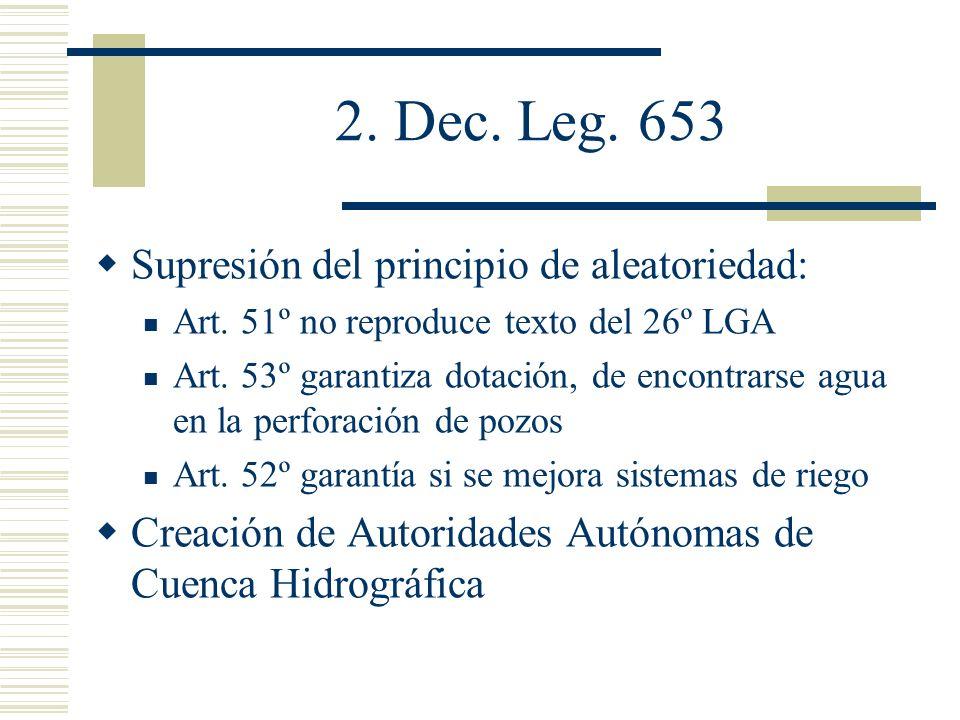2. Dec. Leg. 653 Supresión del principio de aleatoriedad: Art. 51º no reproduce texto del 26º LGA Art. 53º garantiza dotación, de encontrarse agua en