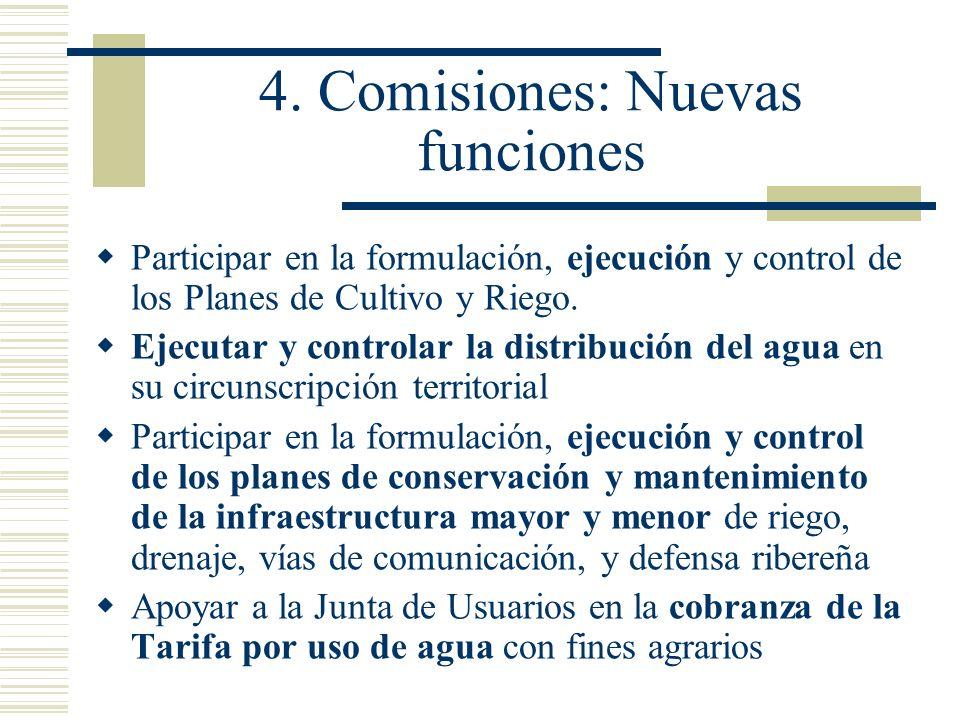 4. Comisiones: Nuevas funciones Participar en la formulación, ejecución y control de los Planes de Cultivo y Riego. Ejecutar y controlar la distribuci