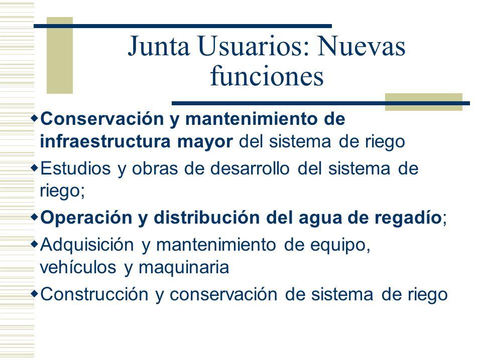 Junta Usuarios: Nuevas funciones Conservación y mantenimiento de infraestructura mayor del sistema de riego Estudios y obras de desarrollo del sistema
