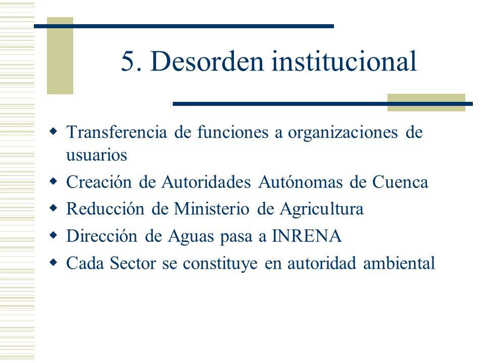 5. Desorden institucional Transferencia de funciones a organizaciones de usuarios Creación de Autoridades Autónomas de Cuenca Reducción de Ministerio