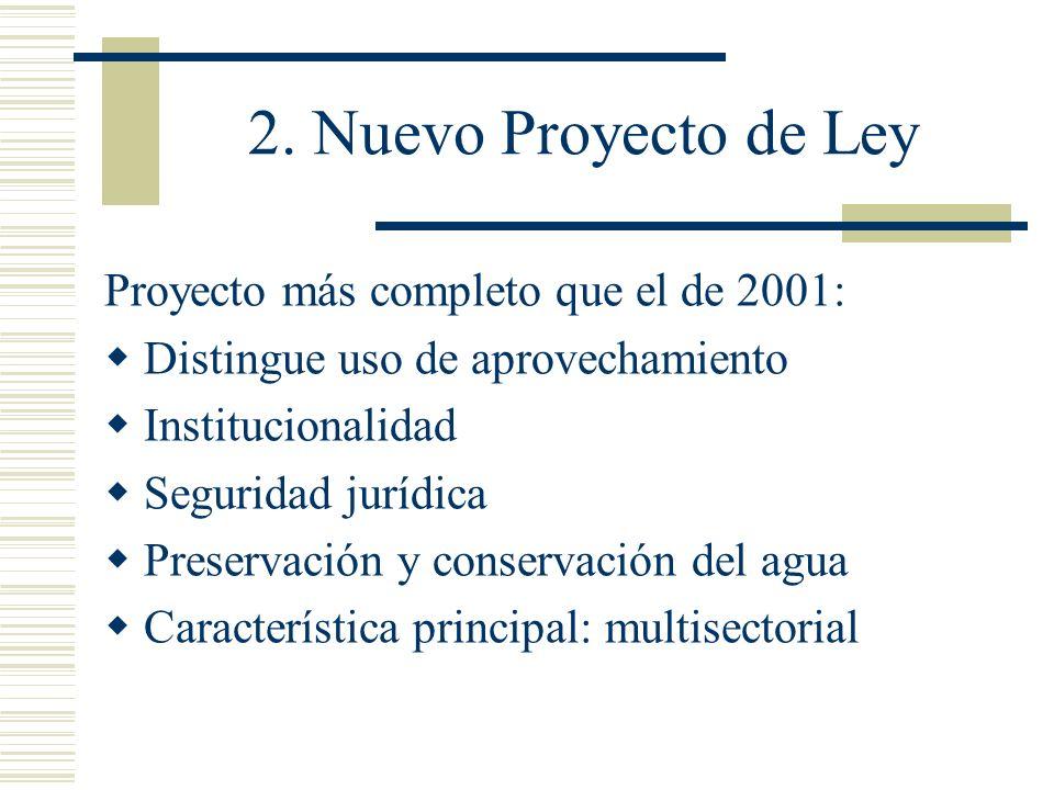 2. Nuevo Proyecto de Ley Proyecto más completo que el de 2001: Distingue uso de aprovechamiento Institucionalidad Seguridad jurídica Preservación y co