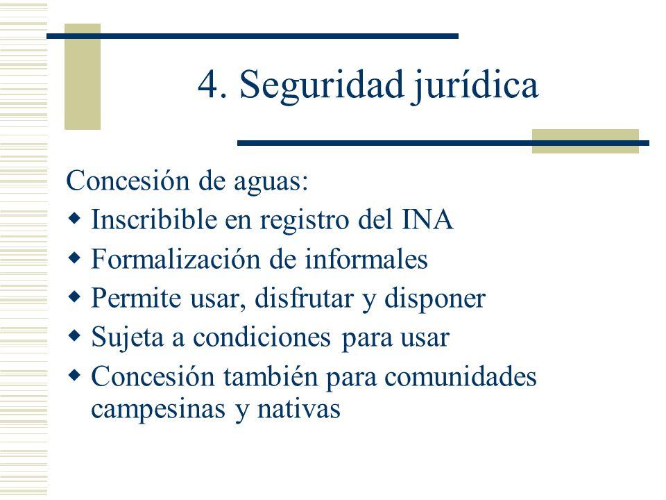 4. Seguridad jurídica Concesión de aguas: Inscribible en registro del INA Formalización de informales Permite usar, disfrutar y disponer Sujeta a cond