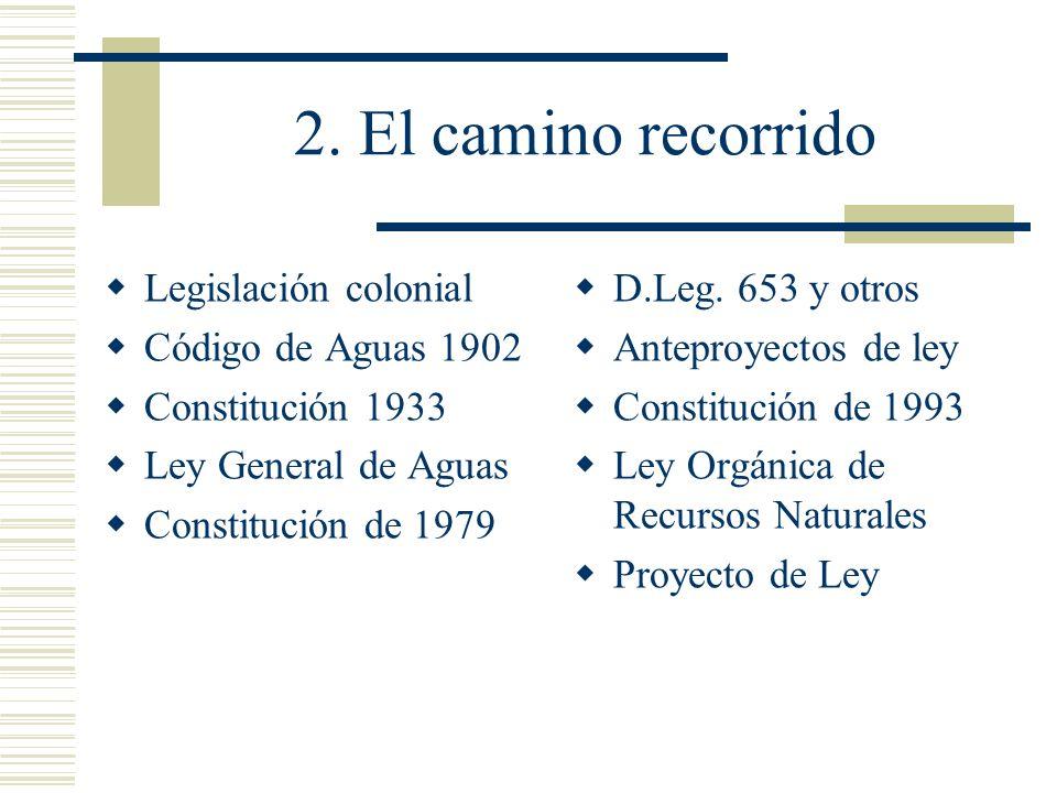 2. El camino recorrido Legislación colonial Código de Aguas 1902 Constitución 1933 Ley General de Aguas Constitución de 1979 D.Leg. 653 y otros Antepr
