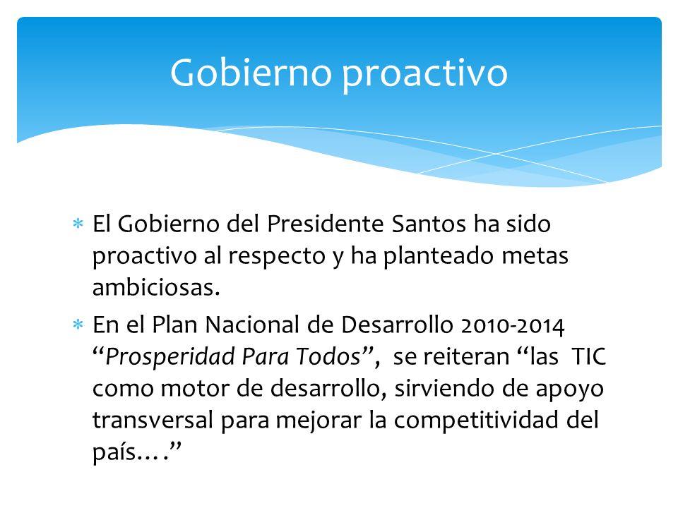 El Gobierno del Presidente Santos ha sido proactivo al respecto y ha planteado metas ambiciosas. En el Plan Nacional de Desarrollo 2010-2014Prosperida