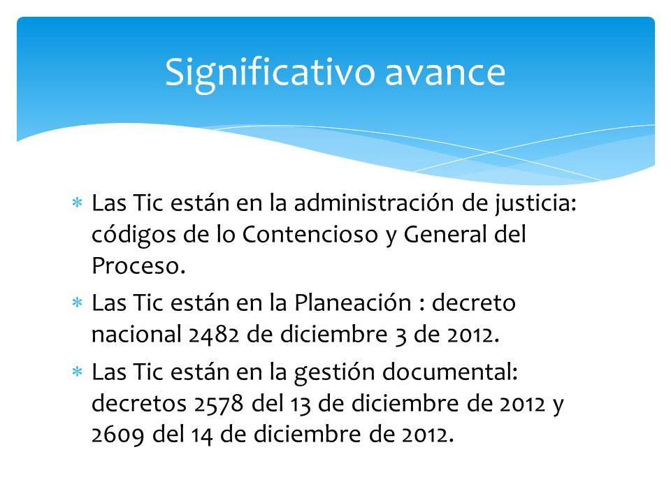 Las Tic están en la administración de justicia: códigos de lo Contencioso y General del Proceso. Las Tic están en la Planeación : decreto nacional 248