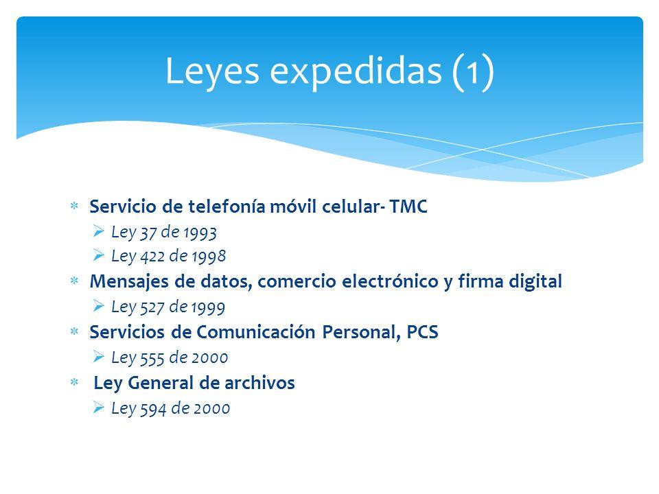 Servicio de telefonía móvil celular- TMC Ley 37 de 1993 Ley 422 de 1998 Mensajes de datos, comercio electrónico y firma digital Ley 527 de 1999 Servic