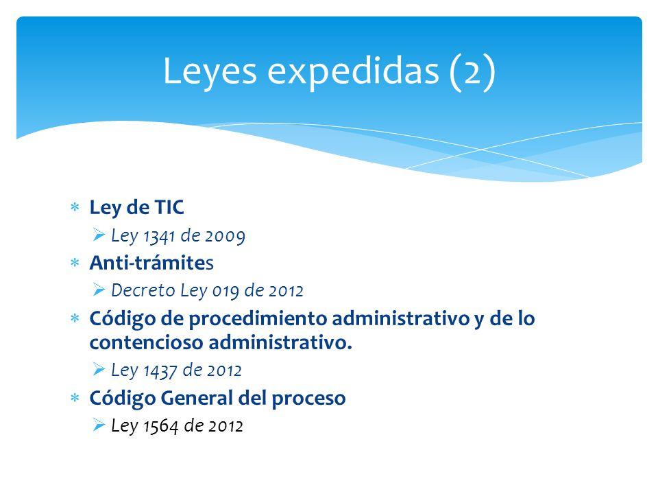 Ley de TIC Ley 1341 de 2009 Anti-trámites Decreto Ley 019 de 2012 Código de procedimiento administrativo y de lo contencioso administrativo. Ley 1437