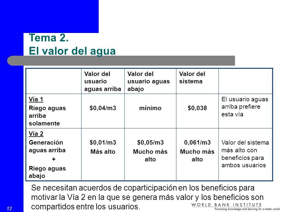 12 Tema 2. El valor del agua Valor del usuario aguas arriba Valor del usuario aguas abajo Valor del sistema Vía 1 Riego aguas arriba solamente $0,04/m